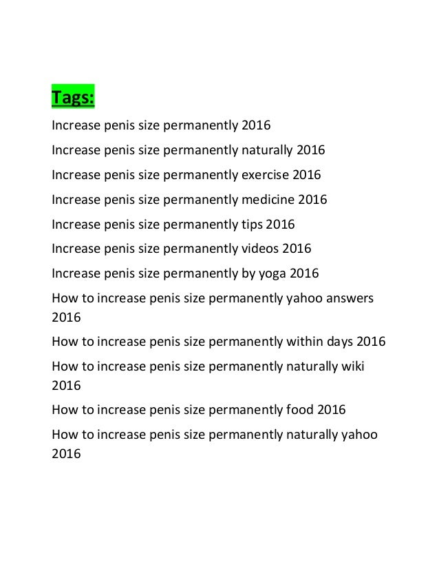 Home ways to increase penis size