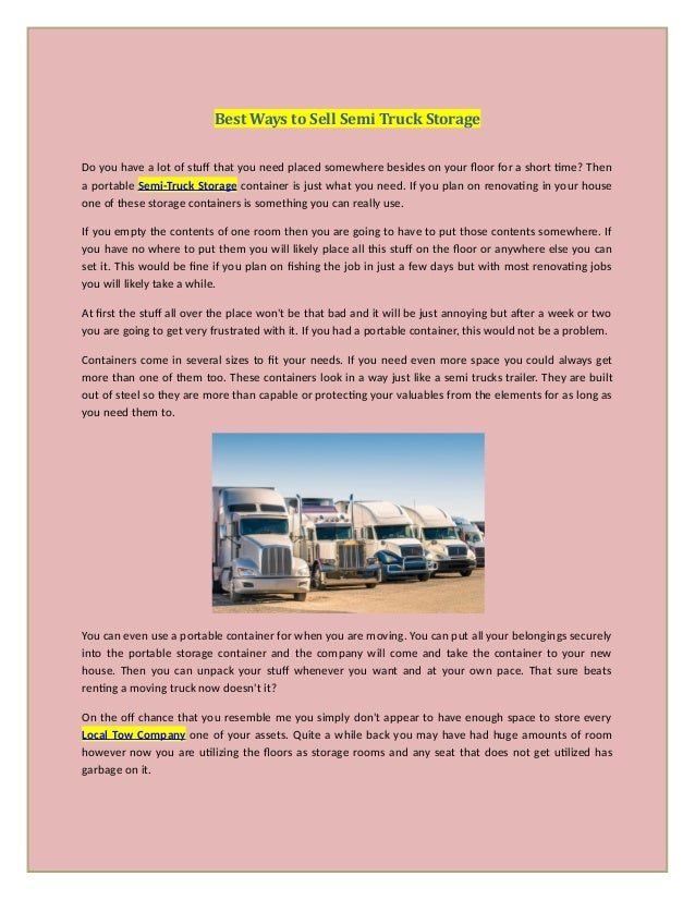 Best ways to sell semi truck storage