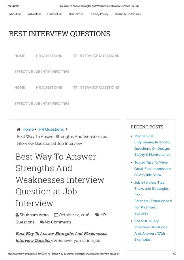 Elegant 10/14/2016 Best Way To Answer Strengths And Weaknesses Interview Question  For Job ...