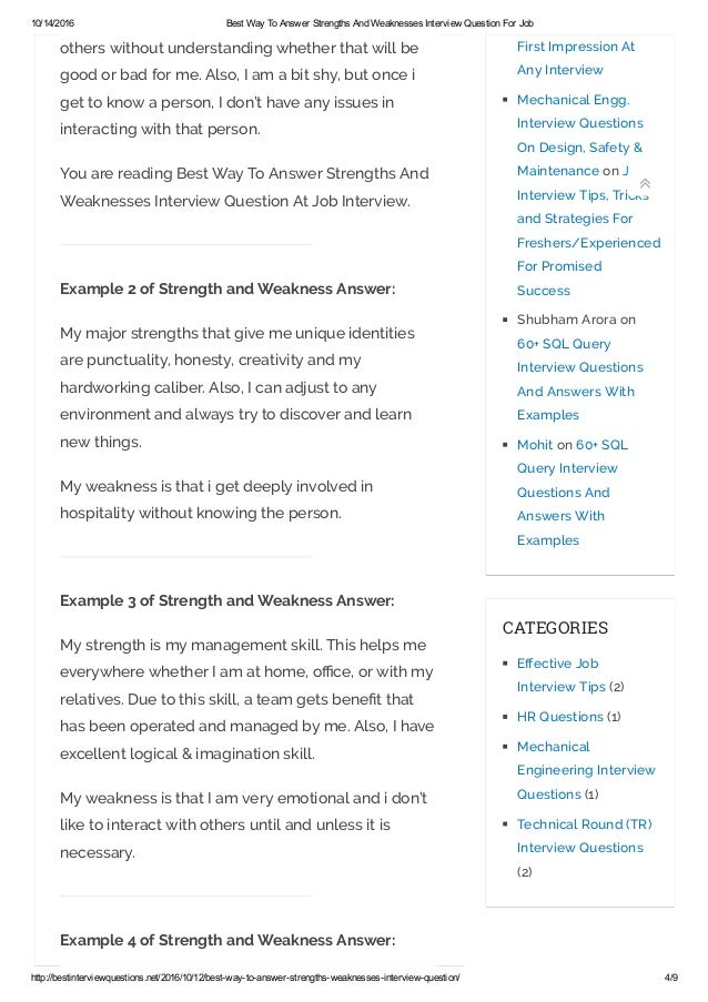 strength and weakness job interview