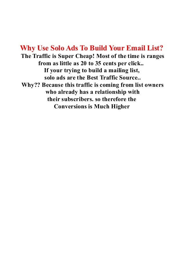 Best Way To build A Email List Fast - Email List Building Using Solo