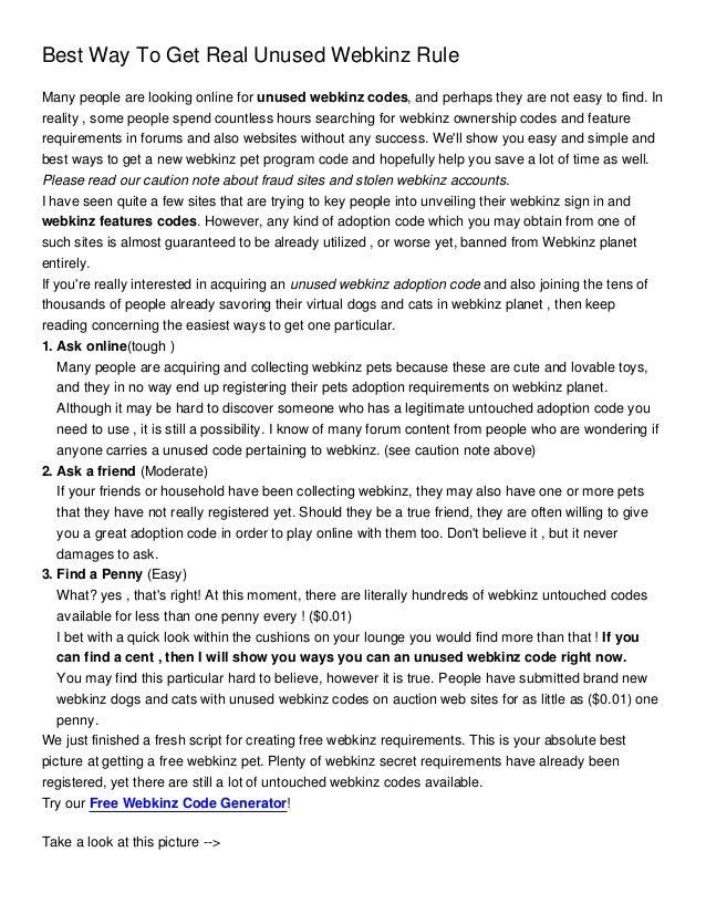 Best Way To Get Real Unused Webkinz Rule S