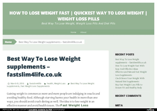 Best Way To Lose Weight Supplements Fastslim4life Co Uk