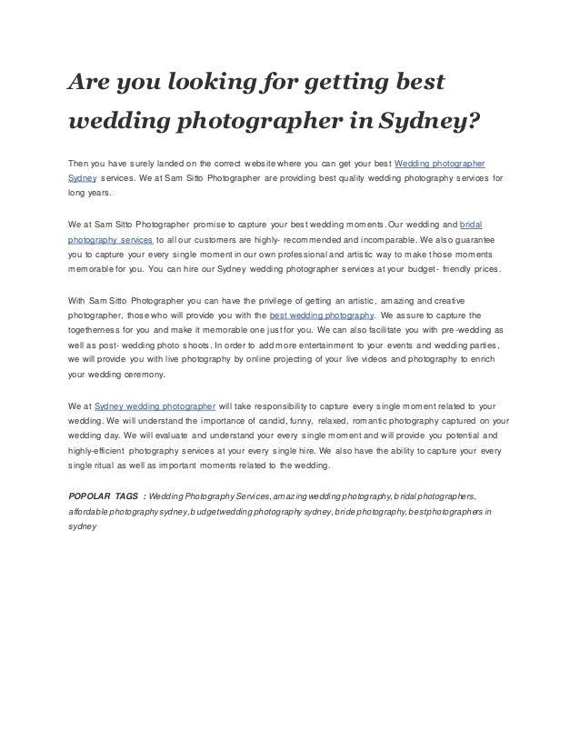 Best wedding photographer in sydney at Sam Sitto