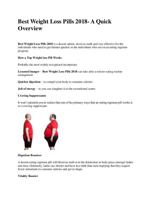 Best Weight Loss Pills 2018 A Quick Overview
