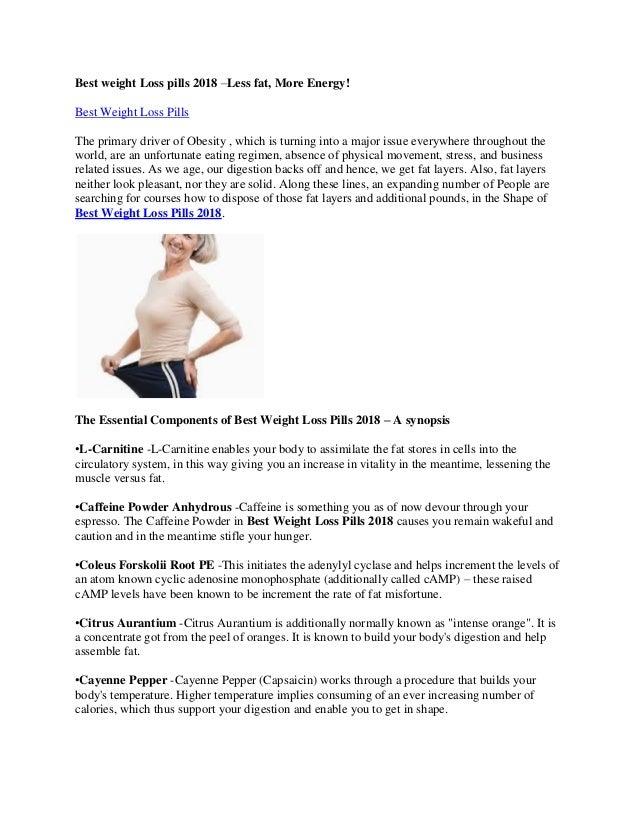 Best Weight Loss Pills 2018 Less Fat More Energy