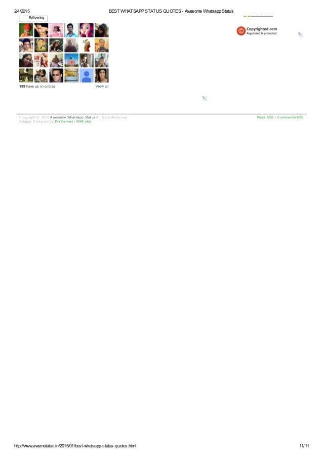 Whatsapp Status Awesome: Best Whatsapp Status Quotes