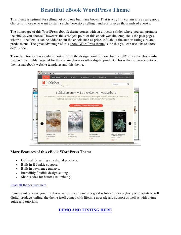 Beautiful eBook WordPress ThemeThis theme is optimal for selling not only one but many books. That is why I'm certain it i...