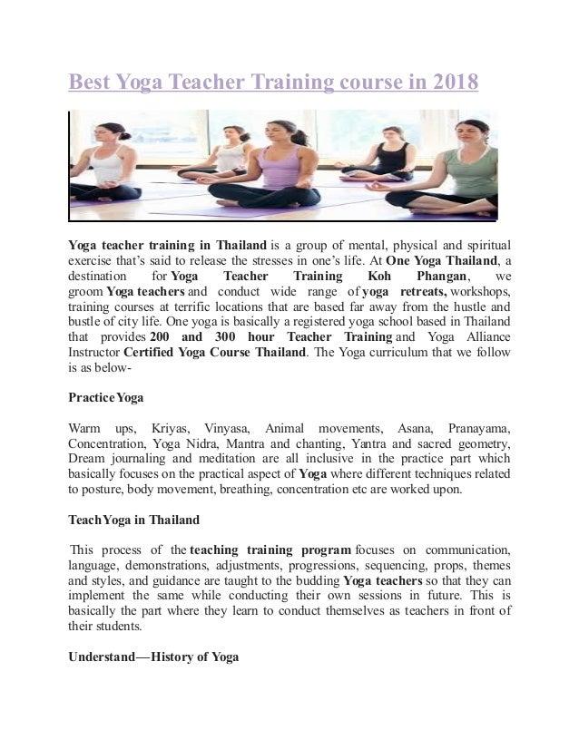 best yoga teacher training course in 2018