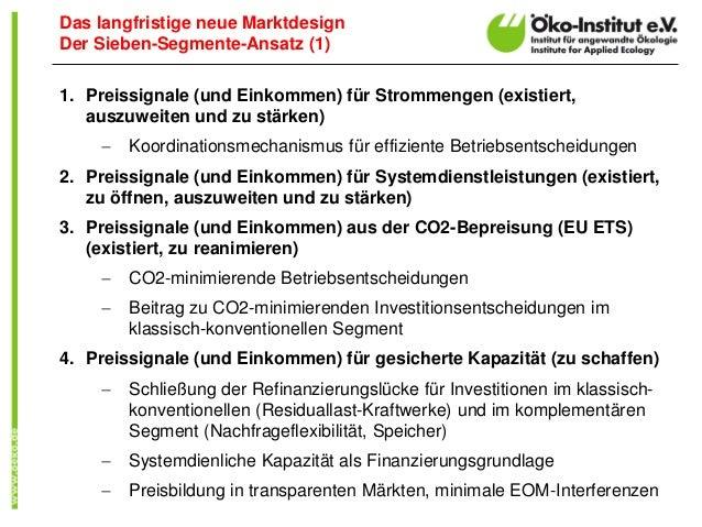 1. Preissignale (und Einkommen) für Strommengen (existiert, auszuweiten und zu stärken)  Koordinationsmechanismus für eff...