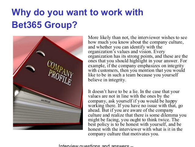 Bet365 group interview questions and answers