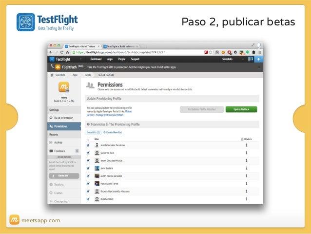 Paso 2, publicar betas  meetsapp.com