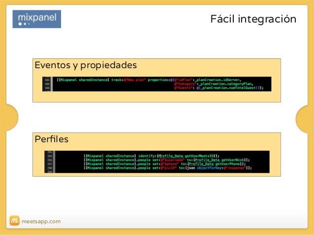Fácil integración  Eventos y propiedades  Perfiles  meetsapp.com