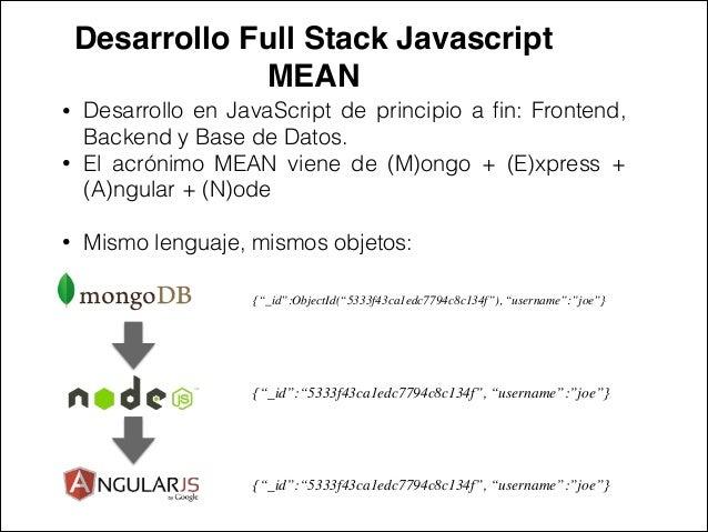 Desarrollo Full Stack Javascript ! MEAN • Desarrollo en JavaScript de principio a fin: Frontend, Backend y Base de Datos. •...