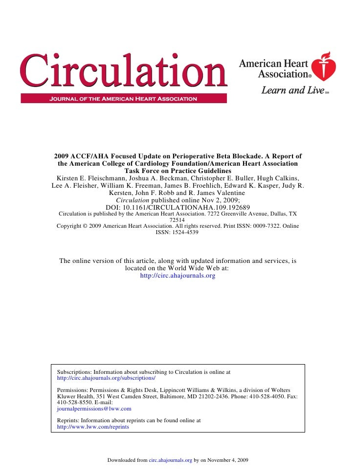 2009 ACCF/AHA Focused Update on Perioperative Beta Blockade. A Report of   the American College of Cardiology Foundation/A...