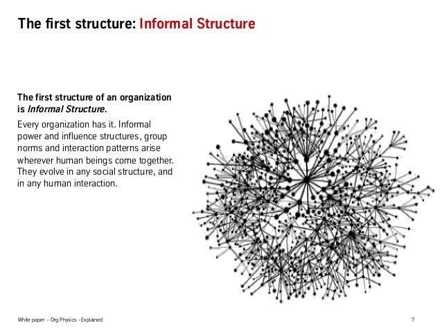 White paper – Org Physics - Explained 7 The first structure: Informal Structure The first structure of an organization is ...
