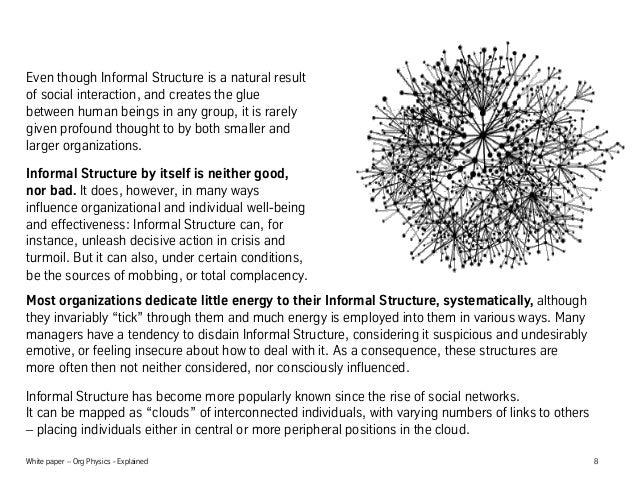 White paper – Org Physics - Explained 8 Even though Informal Structure is a natural result of social interaction, and crea...