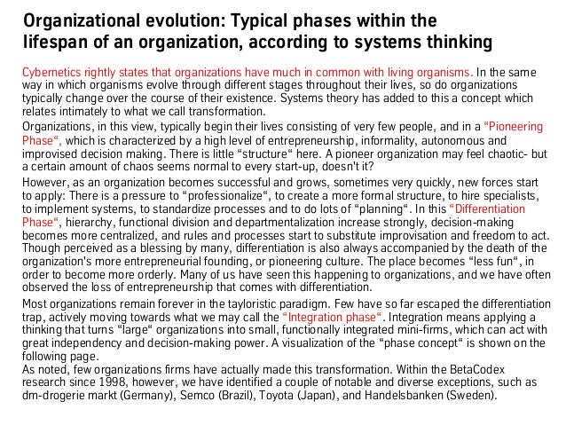Organizational evolution: Typical phases within the lifespan of an organization, according to systems thinking Cybernetics...