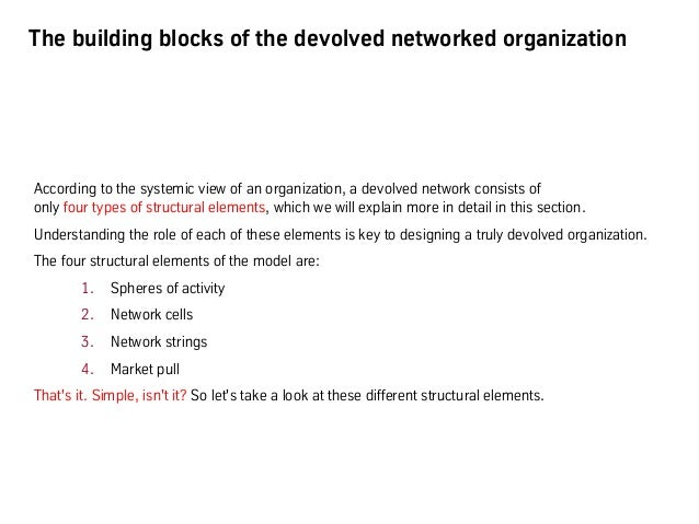 """Building blocks of the networked organization I: """"Spheres of activity"""" - distinguishing the inside from the outside • Eve..."""
