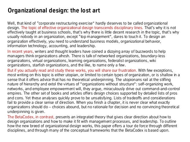 """Organizational design: the lost art Well, that kind of """"corporate restructuring exercise"""" hardly deserves to be called org..."""