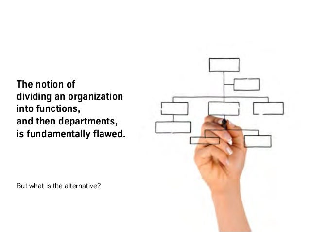 The notion of dividing an organization into functions, and then departments, is fundamentally flawed. But what is the alte...
