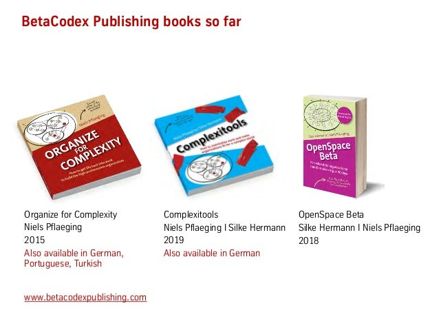 www.betacodexpublishing.com BetaCodex Publishing books so far Organize for Complexity Niels Pflaeging 2015 Also available ...