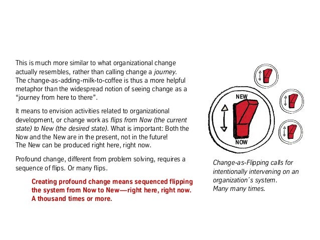 This is much more similar to what organizational change actually resembles, rather than calling change a journey. The chan...