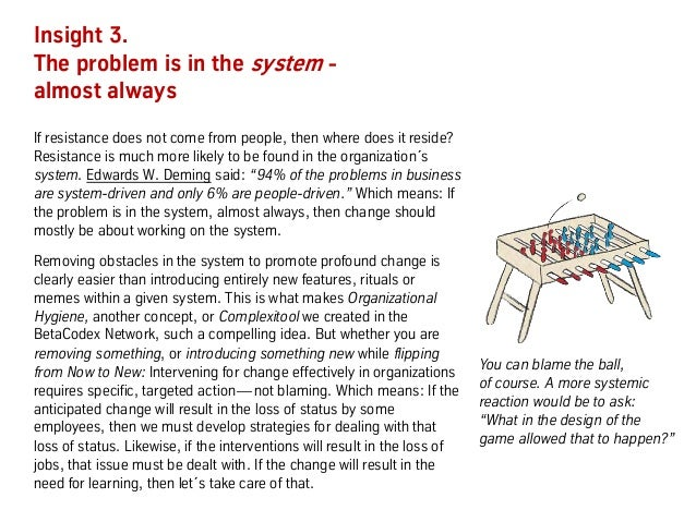 Insight 3. The problem is in the system - almost always If resistance does not come from people, then where does it reside...