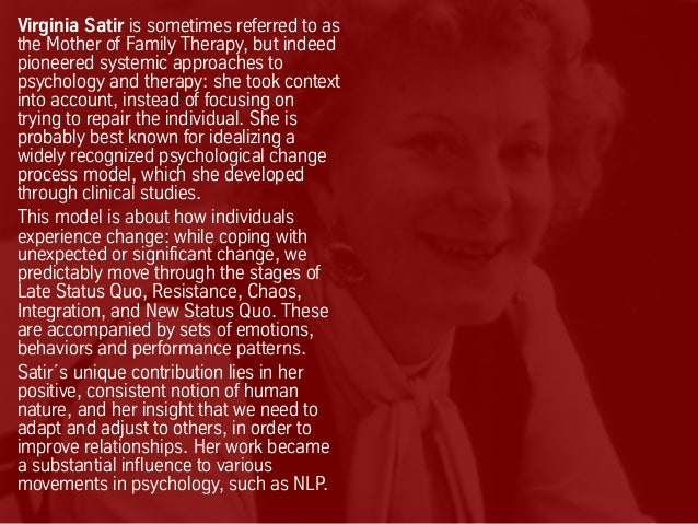 Virginia Satir is sometimes referred to as the Mother of Family Therapy, but indeed pioneered systemic approaches to psych...