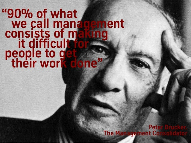 """""""90% of what we call management consists of making it difficult for people to get their work done"""" Peter Drucker. The Mana..."""