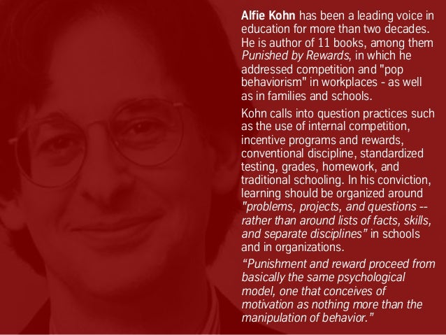 Alfie Kohn has been a leading voice in education for more than two decades. He is author of 11 books, among them Punished ...