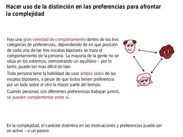 Hacer uso de la distinción en las preferencias para afrontar la complejidad Hay una gran variedad de comportamiento dentro...