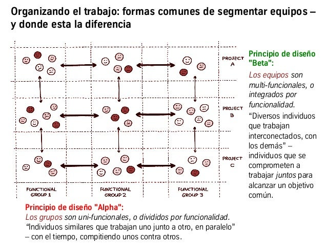 """Principio de diseño """"Alpha"""": Los grupos son uni-funcionales, o divididos por funcionalidad. """"Individuos similares que trab..."""
