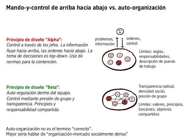 """Principio de diseño """"Alpha"""": Control a través de los jefes. La información fluye hacia arriba, las ordenes hacia abajo. La..."""