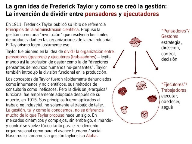 """La gran idea de Frederick Taylor y como se creó la gestión: La invención de dividir entre pensadores y ejecutadores """"Ejecu..."""