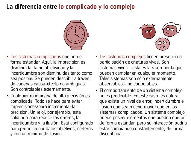 La diferencia entre lo complicado y lo complejo • Los sistemas complicados operan de forma estándar. Aquí, la imprecisión...