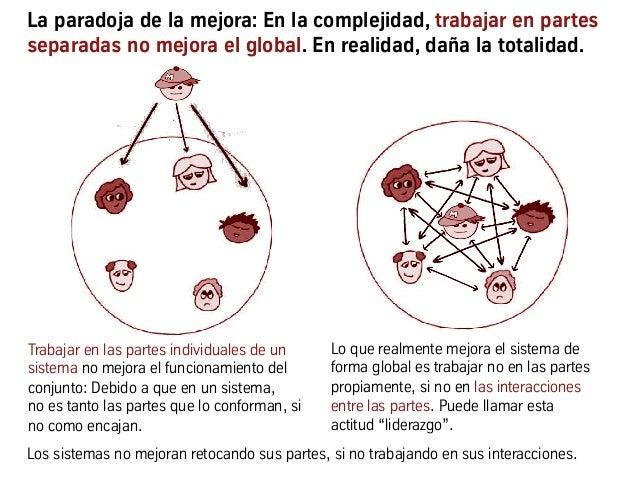 La paradoja de la mejora: En la complejidad, trabajar en partes separadas no mejora el global. En realidad, daña la totali...