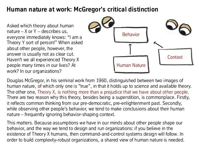 Human nature at work: McGregor's critical distinction Douglas McGregor, in his seminal work from 1960, distinguished betwe...