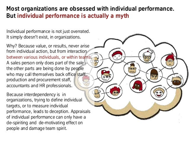 Most organizations are obsessed with individual performance. But individual performance is actually a myth Individual perf...