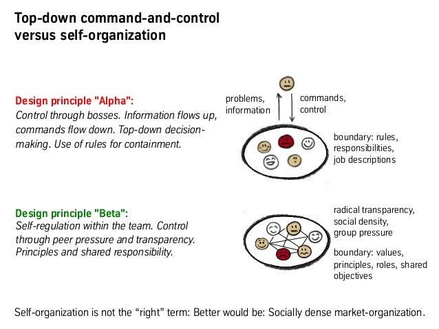 "Design principle ""Alpha"": Control through bosses. Information flows up, commands flow down. Top-down decision- making. Use..."