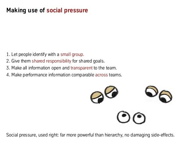 Making use of social pressure 1. Let people identify with a small group. 2. Give them shared responsibility for shared goa...