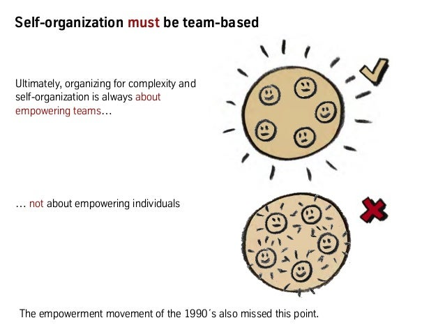Ultimately, organizing for complexity and self-organization is always about empowering teams… … not about empowering indiv...