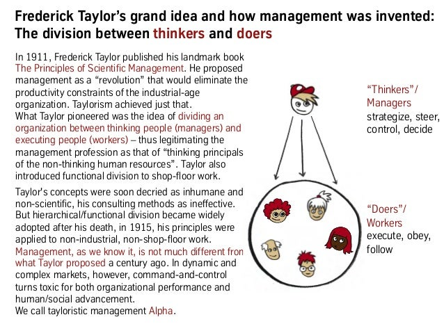 """Frederick Taylor's grand idea and how management was invented: The division between thinkers and doers """"Thinkers""""/ Manager..."""