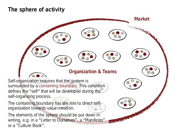 The sphere of activity Organization & Teams Market Self-organization requires that the system is surrounded by a containin...