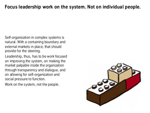 Focus leadership work on the system. Not on individual people. Self-organization in complex systems is natural. With a con...