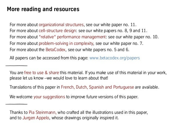 More reading and resources For more about organizational structures, see our white paper no. 11. For more about cell-struc...