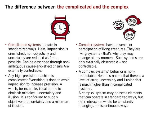 The difference between the complicated and the complex • Complicated systems operate in standardized ways. Here, imprecis...