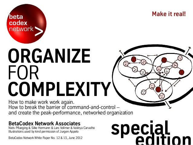 Make it real!ORGANIZEFORCOMPLEXITYHow to make work work again.How to break the barrier of command-and-control –and create ...