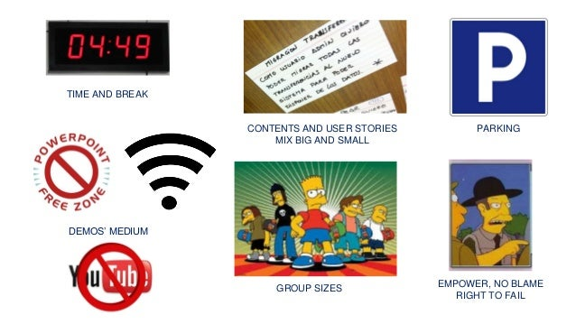 TIME AND BREAK CONTENTS AND USER STORIES MIX BIG AND SMALL DEMOS' MEDIUM GROUP SIZES PARKING EMPOWER, NO BLAME RIGHT TO FA...