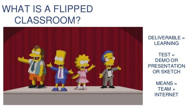 DELIVERABLE = LEARNING TEST = DEMO OR PRESENTATION OR SKETCH MEANS = TEAM + INTERNET WHAT IS A FLIPPED CLASSROOM?